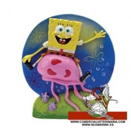 Bob Esponja montado en una medusa